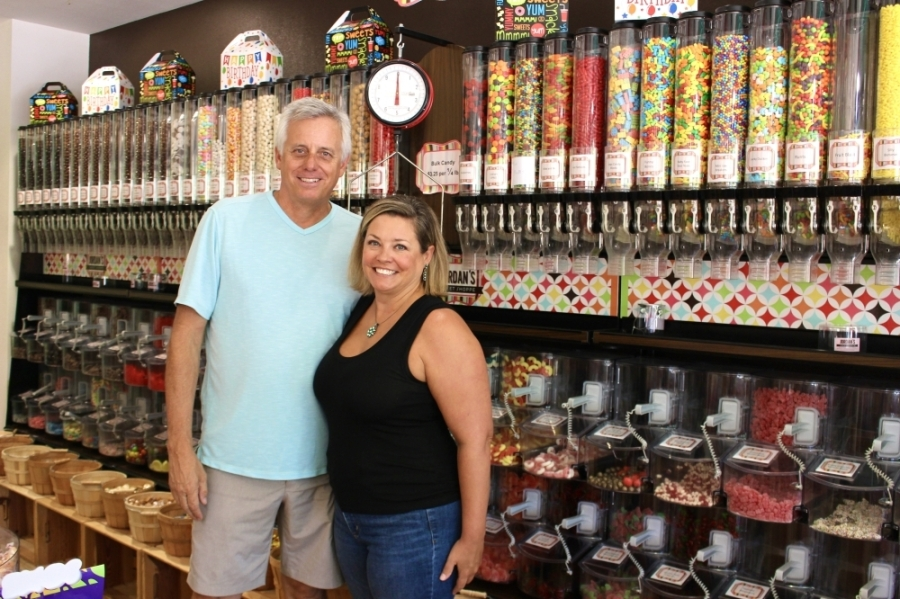 Owners Greg and Jordan Witkop opened the candy store at Creekside Park Village Green in 2015. (Ally Bolender/Community Impact Newspaper)