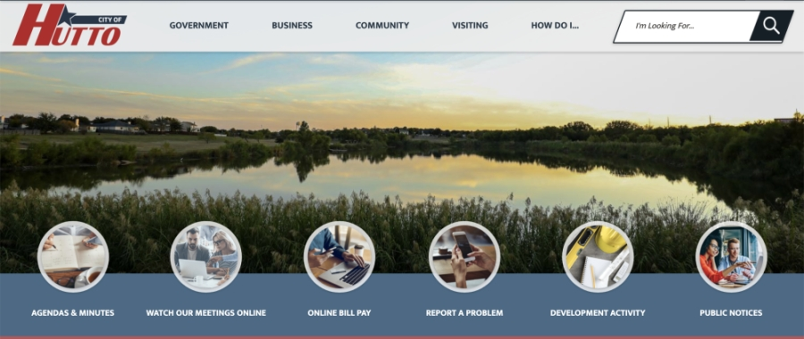 The new website home page features easy-access buttons for citizens to find meeting live-streams or to report problems in the city. (Courtesy city of Hutto)