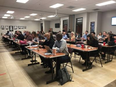 Employees of the upcoming Harris County ESD 11 Mobile Healthcare unit sit in on a six-week course in preparation of the ambulance service provider's Sept. 1 launch. (Courtesy of Harris County Emergency Services District No. 11)