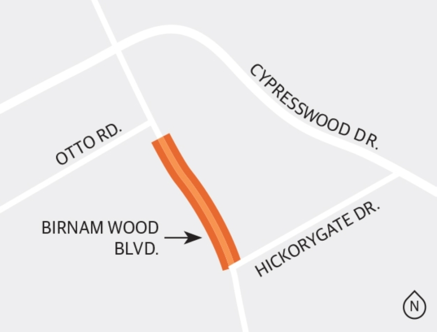 Harris County Precinct 4 is studying a project to extend Birnam Wood Boulevard from north of Hickorygate Drive to just south of Otto Road as a four-lane concrete paved section with improved drainage accommodations and traffic signal installation/modification as warranted. (Ronald Winters/Community Impact Newspaper)