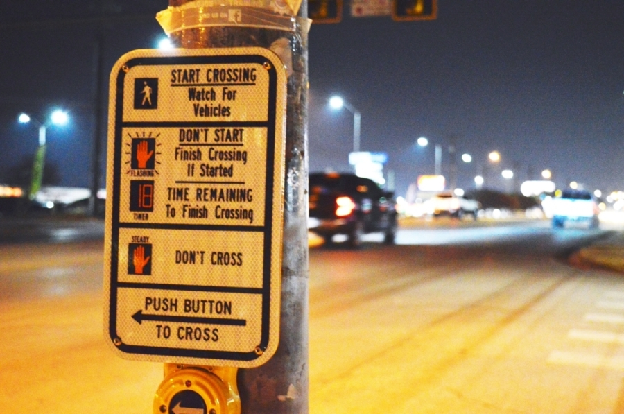 Pedestrian crossing North Lamar