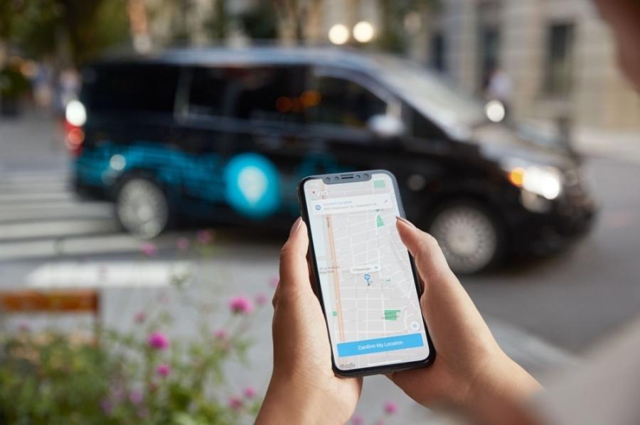 smart phone app with van in background