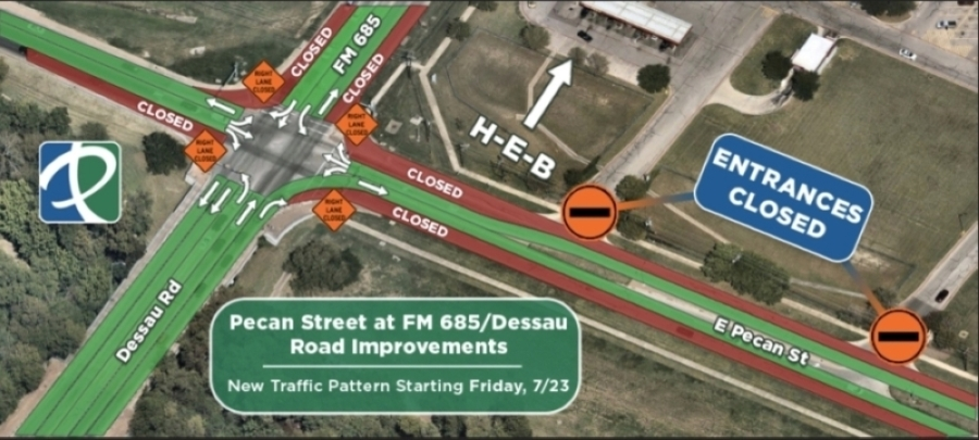 Improvements taking place at the intersection of Pecan Street and FM 685 will undergo a new phase of construction starting July 23. (Image courtesy city of Pflugerville)