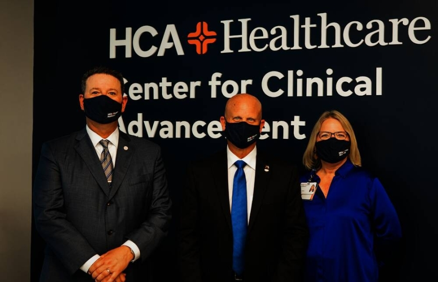 HCA Houston Healthcare President Troy Villarreal, Pearland Mayor Kevin Cole and HCA Houston Healthcare Vice President of Clinical Education Diane Henry all spoke at the grand opening on July 27.