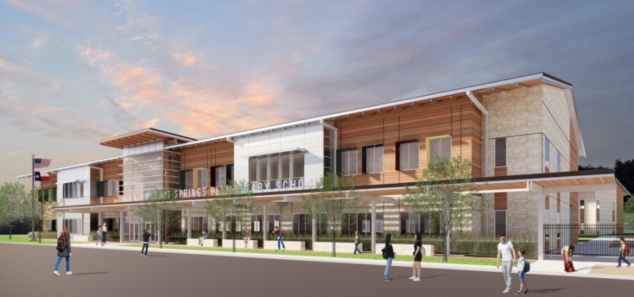 A rendering of Walnut Springs Elementary School shows what the district expects to see completed by the start of school Aug. 17. (Rendering courtesy Dripping Springs ISD)