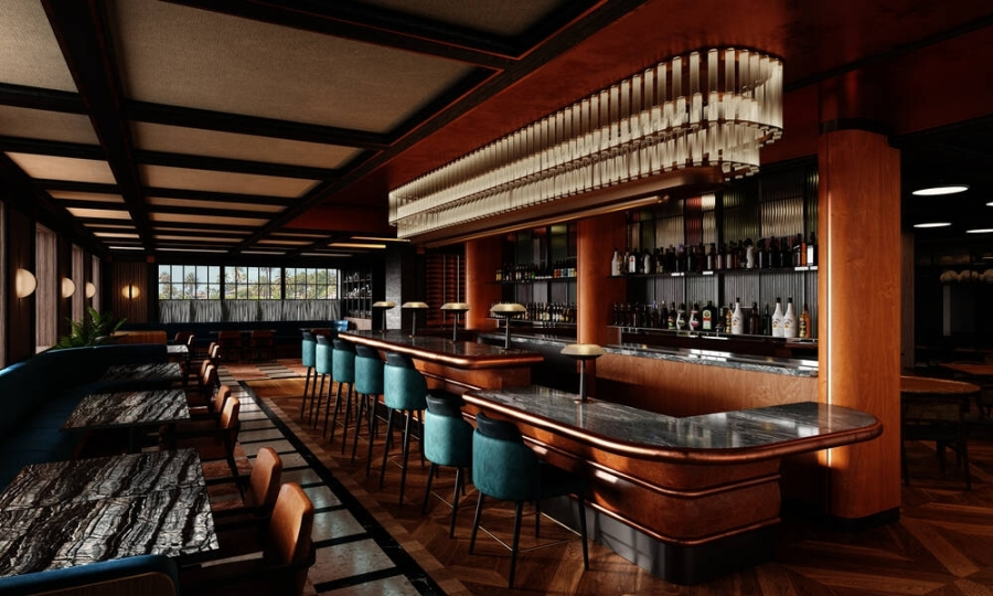 Plans for Andiron include a dining room and bar/lounge area that seats 110. (Courtesy AvroKO)