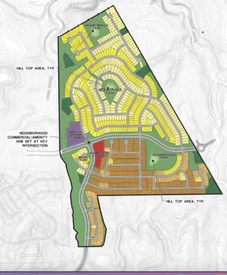 The proposed Wild Ridge master-planned neighborhood northeast of downtown Dripping Springs would include 960 homes on 40- to 60-foot-wide lots. (Courtesy City of Dripping Springs)