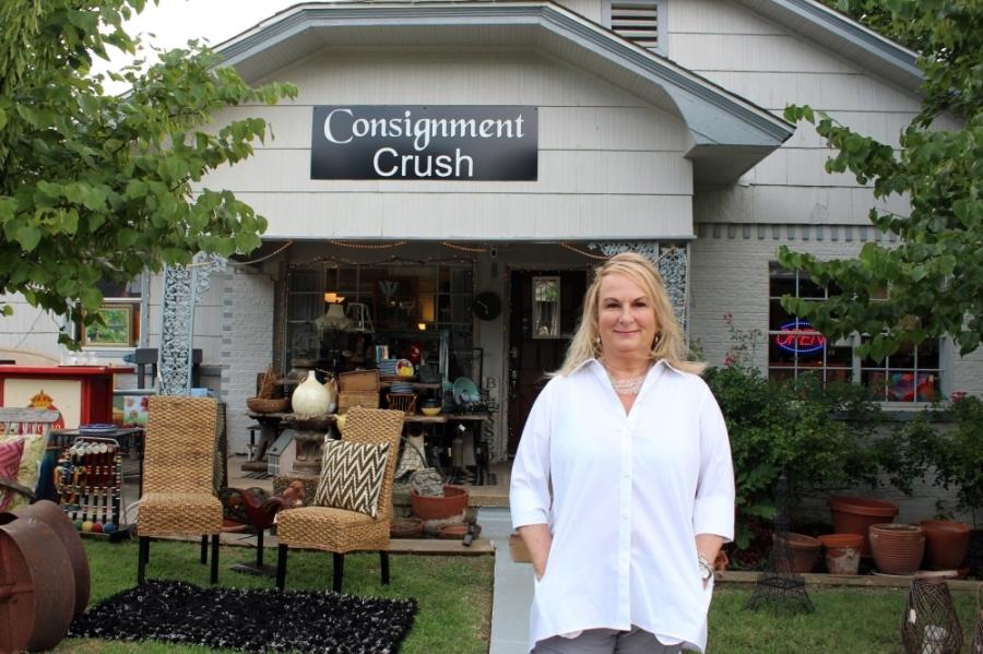 Terry Ellis opened Consignment Crush in February 2020. (Karen Chaney/Community Impact Newspaper)