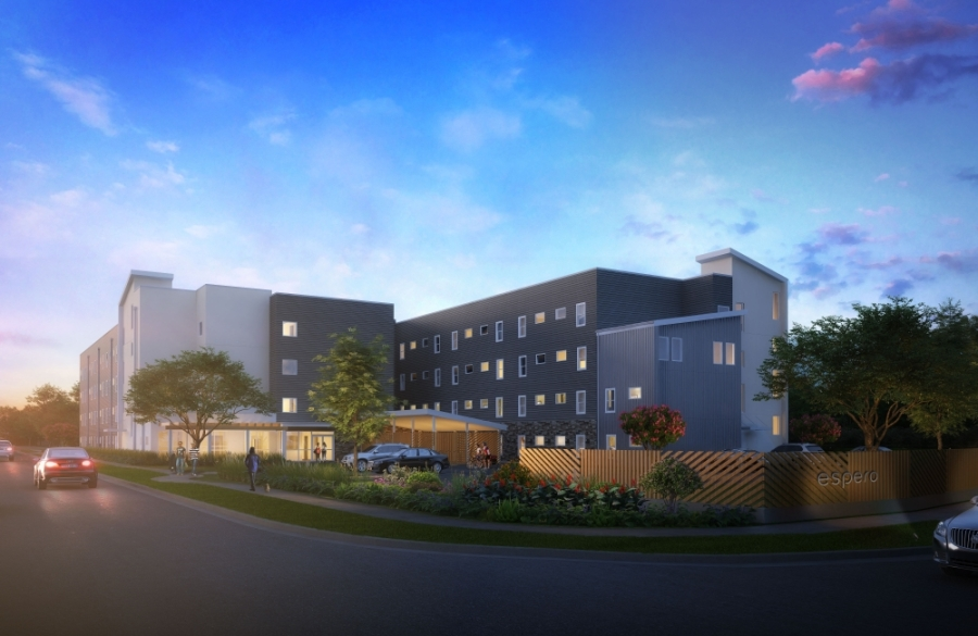 Espero Rutland is under development by Caritas of Austin near the intersection of Metric Boulevard and Rutland Drive. The apartment complex will provide housing for those experiencing homelessness. (Rendering courtesy The Vecino Group).
