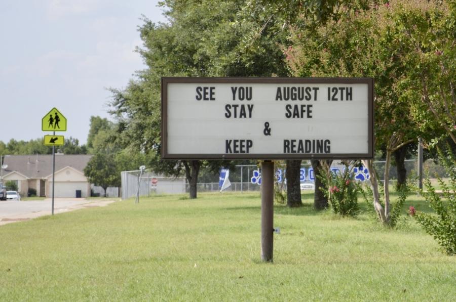 School begins Aug. 12 at Leander ISD. Pictured is a sign at Bagdad Elementary School in Leander. (Taylor Girtman/Community Impact Newspaper)