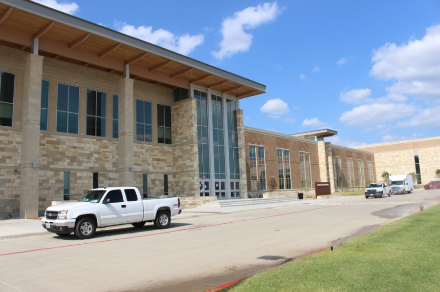 Construction began at Emerson High School in August 2019. The school will open for students when classes resume this fall. (Miranda Jaimes/Community Impact Newspaper)