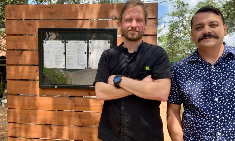 From left: Head Chef Tim Lane and General Manager Adam Garcia manage dual menus at their restaurant. (Photos by Greg Perliski/Community Impact Newspaper)
