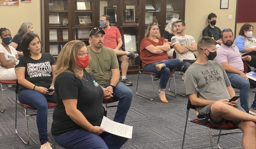 The meeting room at the Pflugerville ISD Administration Building was at capacity during an Aug. 16 special meeting. (Brian Rash/Community Impact Newspaper)