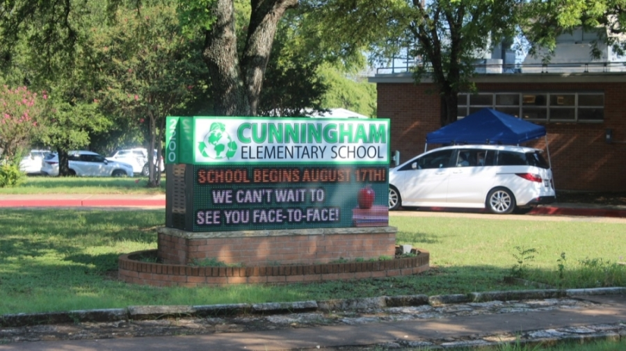 Photo of a sign at Cunningham Elementary School