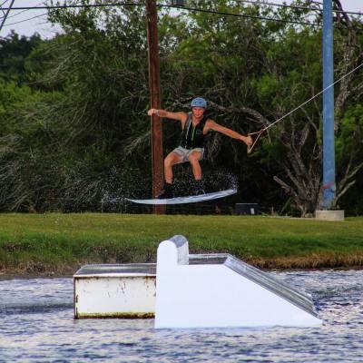 A wakeboarder jumps a rail at the Texas Ski Ranch. (Courtesy Texas Ski Ranch)