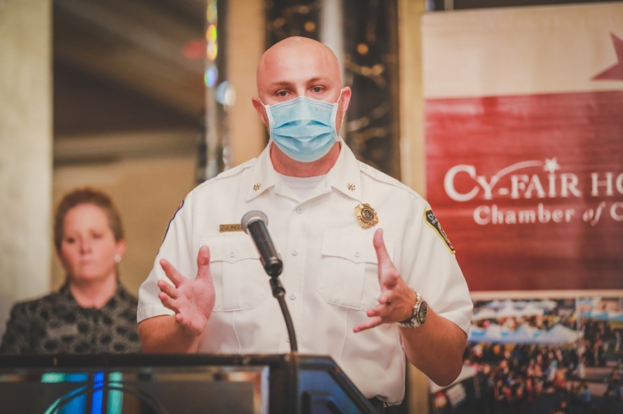 Justin Reed, assistant chief of EMS for the Cy-Fair Fire Department speaks about the state of the local health care system at an Aug. 17 Cy-Fair Houston Chamber of Commerce meeting. (Courtesy Capt. Daniel Arizpe, PIO/Cy-Fair Fire Department)