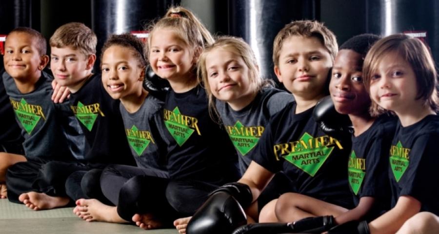 Children at a martial arts class.