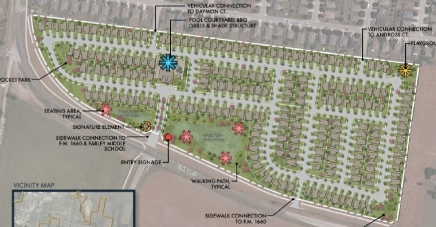 The neighborhood will consist of two-, three- and four-bedroom homes. (Image courtesy Aspen Heights Partners)