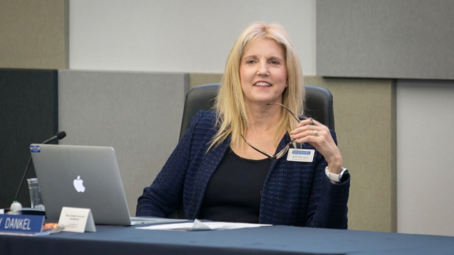 McKinney ISD board President Amy Dankel speaks at a January board meeting. (Courtesy McKinney ISD)