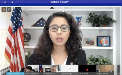 Harris County Judge Lina Hidalgo met with county commissioners on Aug. 24, passing an initiative to bring needed nurses to Houston-area hospitals. (Emily Lincke/Community Impact Newspaper)