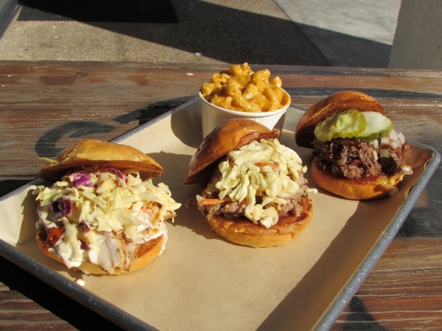 The menu at Slab BBQ & Beer features barbecue sandwiches. (Community Impact Newspaper staff)