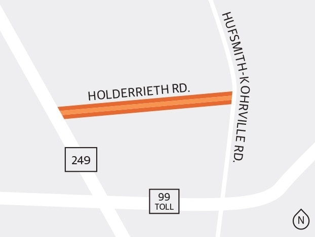 Harris County is designing a project for a stretch of Holderrieth Road from Hwy. 249 to Hufsmith-Kohrville Road. (Ronald Winters/Community Impact Newspaper)
