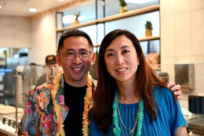 Pokeworks owner Jean Xue is seen with her husband, Chuck Lo. (Courtesy Pokeworks)