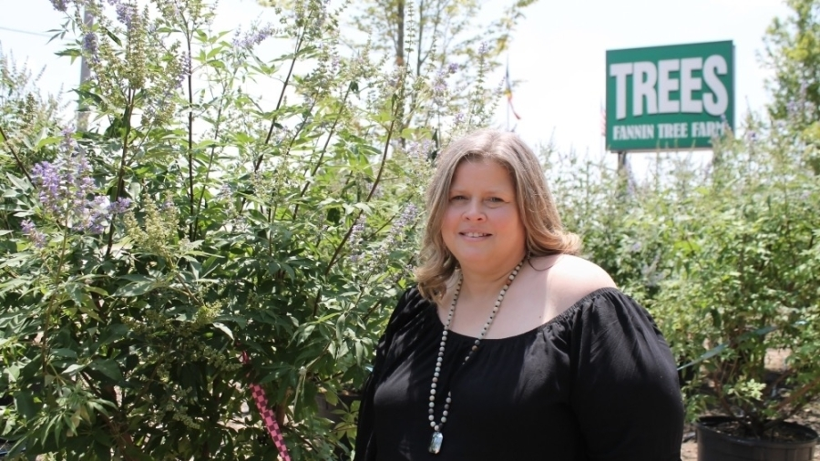 Business manager Clair Skinner has been with Fannin Tree Farm for six years. (Lindsey Juarez Moncivais/Community Impact Newspaper)