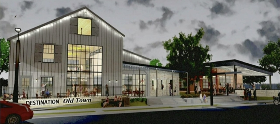 There are plans are to develop a district with bars, restaurants and entertainment venues on three land parcels in Old Town Leander. (Rendering screenshot courtesy city of Leander)