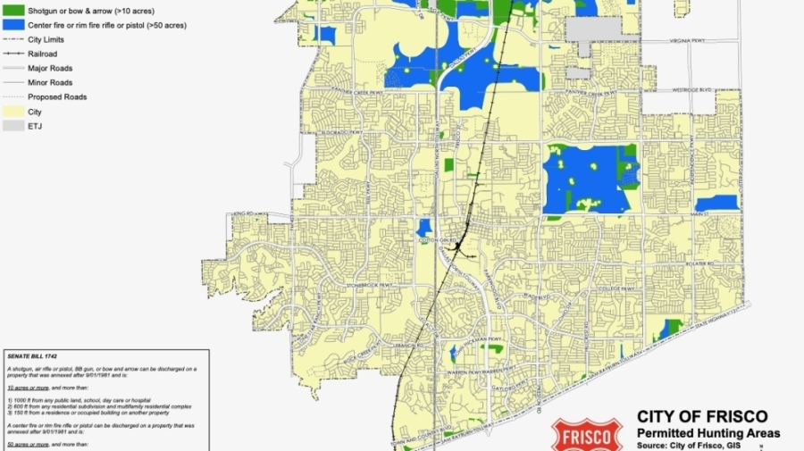 Dove hunting season began Sept. 1. Here is where dove hunting is allowed in Frisco. Blue areas on the map represent land 50 acres or larger, and green areas represent land 10 acres or larger. (Screenshot by Miranda Jaimes/Community Impact Newspaper)