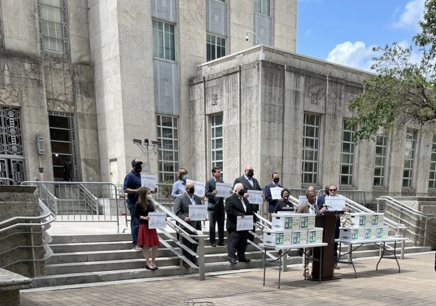 A petition circulated by a group of local political groups known as the Houston Charter Amendment Coalition had its signatures verified by the city secretary July 6. After a city council debate, the amendment will appear on the November 2023 ballot. (Emma Whalen/Community Impact Newspaper)