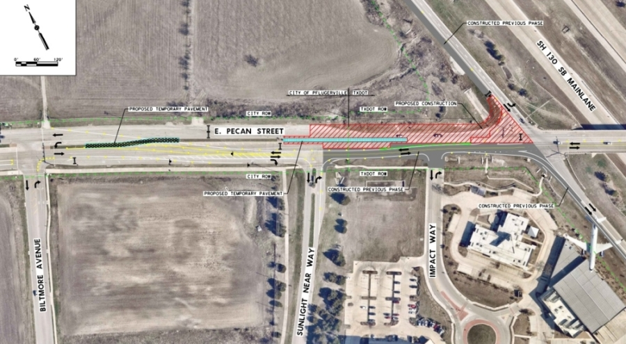 Construction to continue the widening of Pecan Street at SH 130 will begin Sept. 9. (Courtesy city of Pflugerville)