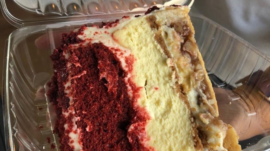 "Scrumptious Houston serves dessert mashups, such as the red velvet ""piecaken."" (Colleen Ferguson/Community Impact Newspaper)"