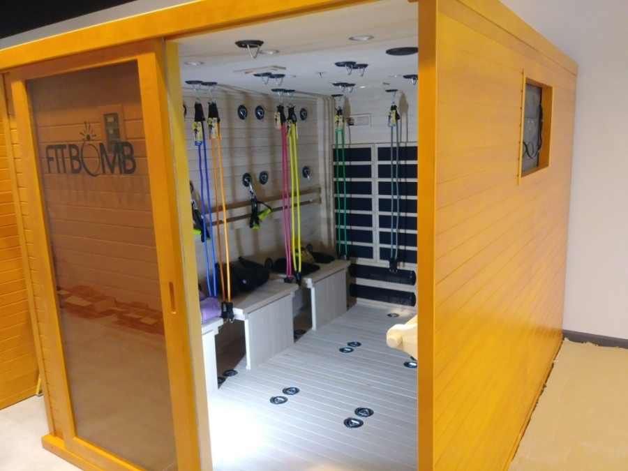 The concept offers a variety of fitness and wellness amenities, including a float tank, a massage lounge, tanning beds, a saltarium and FitBomb sauna units. (Courtesy Euro Glo & Fit Spa)