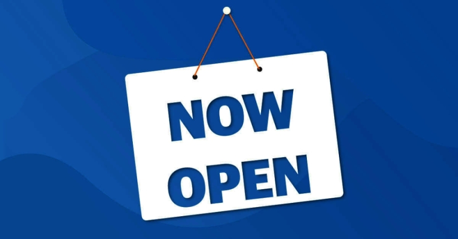 Now Open sign graphic
