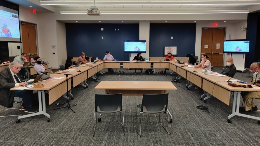 Austin's Independent Citizens Redistricting Commission met Sept. 8 to consider draft maps of new City Council district boundaries set to go into effect next year. (Ben Thompson/Community Impact Newspaper)
