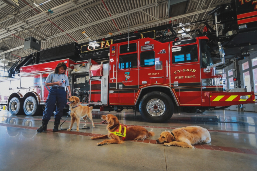 Captain Denise Corliss is the K9 search team coordinator with the Cy-Fair Fire Department. (Courtesy Daniel Arizpe, PIO/Cy-Fair Fire Department)