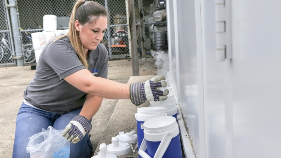 Environmental quality specialist Carolyn Russell prepares mosquito traps to set around Plano as part of the city's health measures against the West Nile virus. (Courtesy city of Plano)