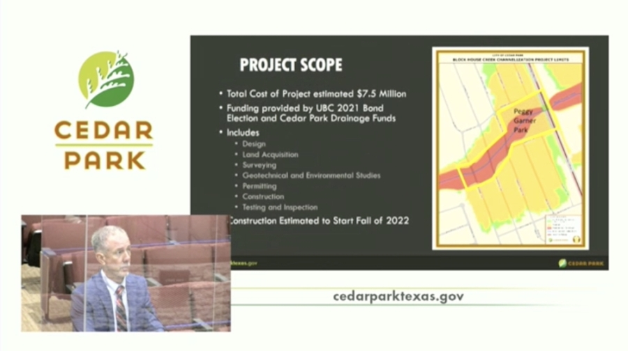 Cedar Park City Council approved a $7.5 million cost-share agreement for the project Sept. 2 with the Upper Brushy Creek Water Control & Improvement District. (Screenshot courtesy city of Cedar Park)