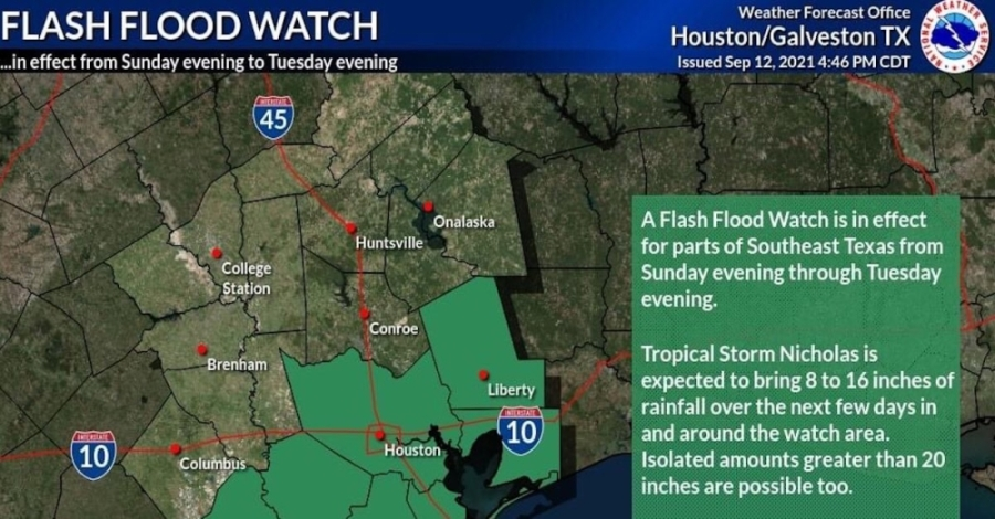 Flooding is likely in the majority of the county through the morning of Sept. 15, according to the National Weather Service. (Courtesy National Weather Service)
