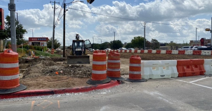 The lane is closed for the construction of driveway aprons, curb and gutter. The city has stated that drivers should expect short delays.(Brooke Sjoberg/Community Impact Newspaper)