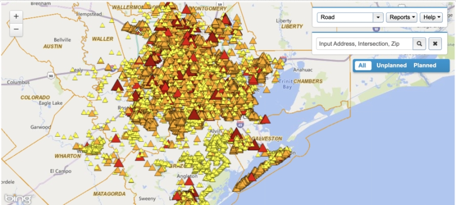 Hundreds of thousands are without power after Tropical Storm Nicholas made landfall. (Courtesy CenterPoint Energy)