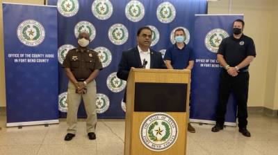 At a 9:30 a.m. press conference Sept. 14, Fort Bend County Judge KP George said the effects of Hurricane Nicholas on the county were relatively minimum. (Screenshot courtesy Fort Bend County)