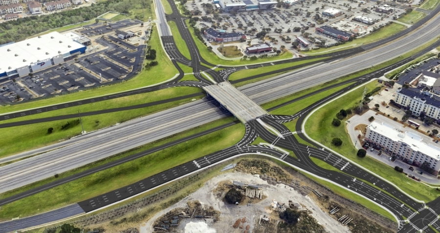 The diverging diamond intersection will temporarily switch the lanes when drivers cross I-35 on Parmer Lane, so drivers will be on the left side of the road. (Courtesy Texas Department of Transportation)