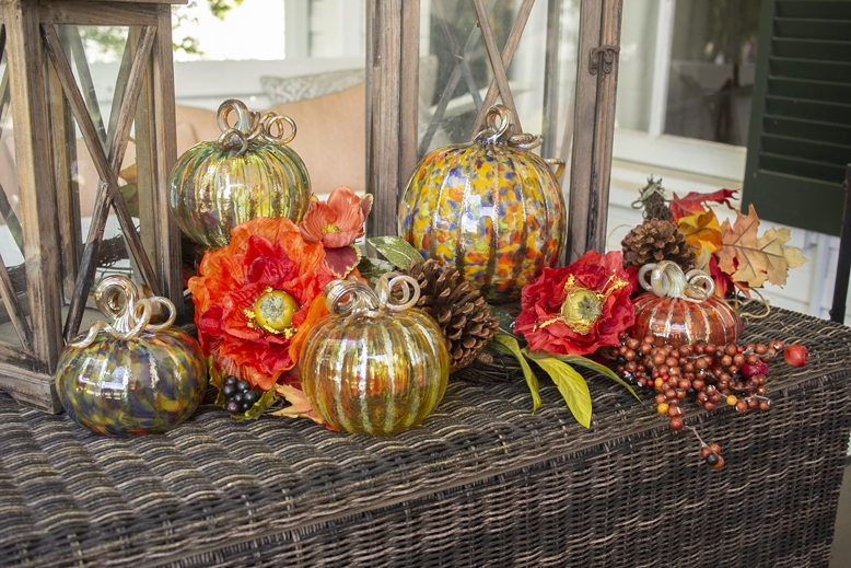These are just an example of some of the glass pumpkins that will be on display in the pumpkin patch. (Photo courtesy Wimberley Glassworks)