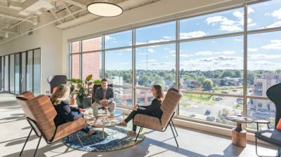 All Serendipity Labs feature natural light with areas for teams to meet that meet health requirements. Pictured is Serendipity Labs Madison/Middleton, Wisconsin. The Serendipity Labs at McKinney–Craig Ranch will meet these same brand standards. (Courtesy Serendipity Labs)
