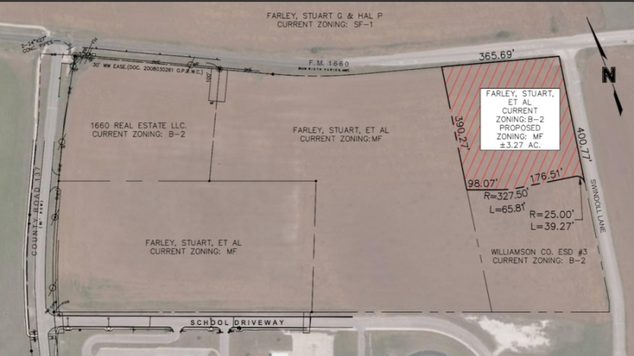 The 3.27-acre tract of land will be the site of several apartment buildings. (Courtesy city of Hutto)