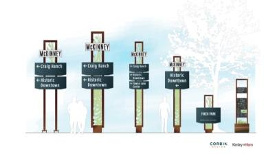 McKinney City Council considered design concepts for future wayfinding signs for the city Sept. 21. (Illustration courtesy city of McKinney)