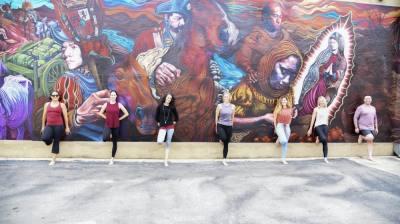 Lauren Wiedenfeld, center, opened Laurel Grace Yoga in August of 2020. (Courtesy Lauren Wiedenfeld)