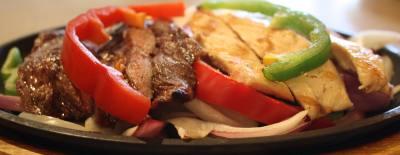 The combo fajitas ($11.99) features beef, chicken and tortillas.